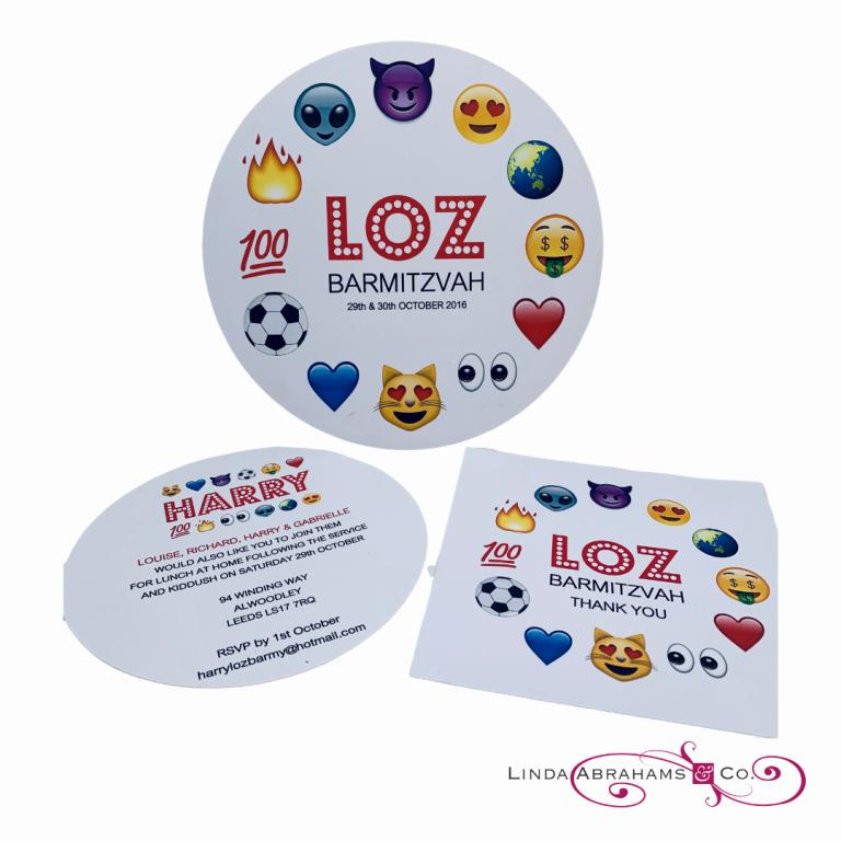 bespoke barmitzvah invitation emoji theme