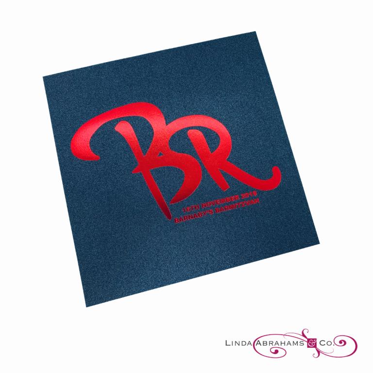 bespoke barmitzvah invitation red foil logo