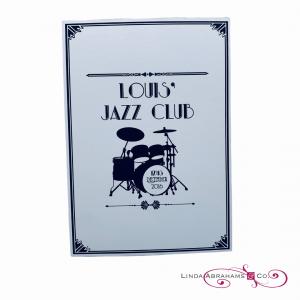 bespoke barmitzvah invitation jazz club theme
