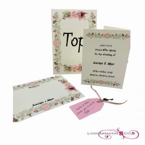 bespoke wedding stationery suite with hand painted floral border