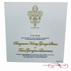 heavy weight bespoke wedding invitation with thick gold raised ink
