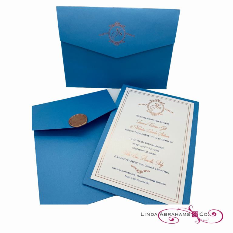bespoke wedding invitation suite - foiled logo on handmade envelope - wax seal and azure blue card with rose gold foil print