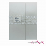 bespoke wedding invitation wallet with lace and pearls