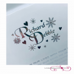 bespoke winter wonerland themed wedding invitation with snowflake crystal embellishment