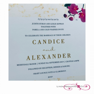 bespoke wedding invitation with gold raised ink and orchid detail