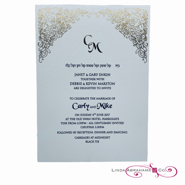 bespoke wedding invitation with gold foiled floral border