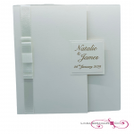 bespoke elegant ivory wedding invitation wallet with satin ribbon and neat bow