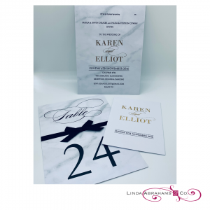 bespoke marble patterned jewish wedding invitation with gold foil