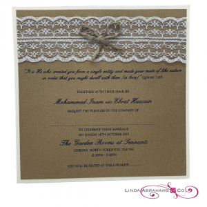 bespoke rustic wedding invitation with lace and string bow