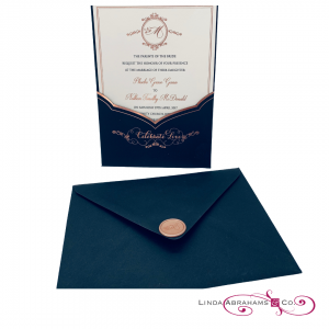 bespoke wedding invitation wallet with rose gold ink and wax seal