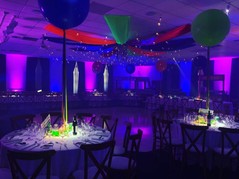 festival themed barmitzvah with festoon drapes and fairy lights