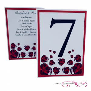 bespoke ruby wedding menu with red hearts