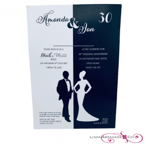 bespoke 30th anniversary invitation black and white themed