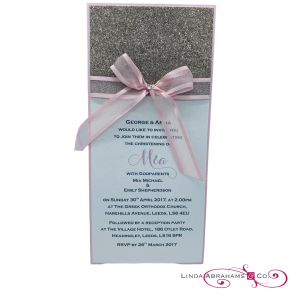 bespoke christening invitaton with glitter card and satin ribbon