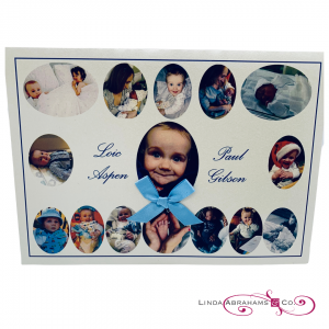 bespoke christening invitation with photographs