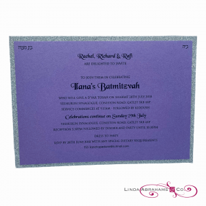 Lilac pearlised batmitzvah invitation with silver glitter border