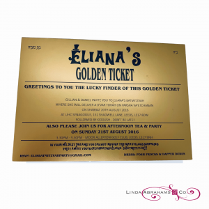 willy wonka themed golden ticket batmitzvah invitation