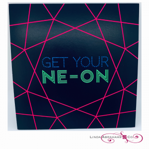 Neon themed batmitzvah invitation heavy weight card