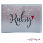 glitter themed batmitzvah invitaton with silver foiled name and heart