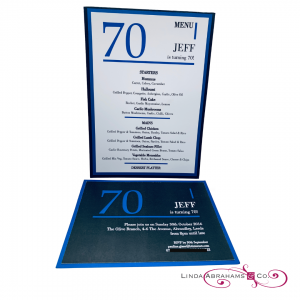 bespoke 70th birthday invitaion in blue and black