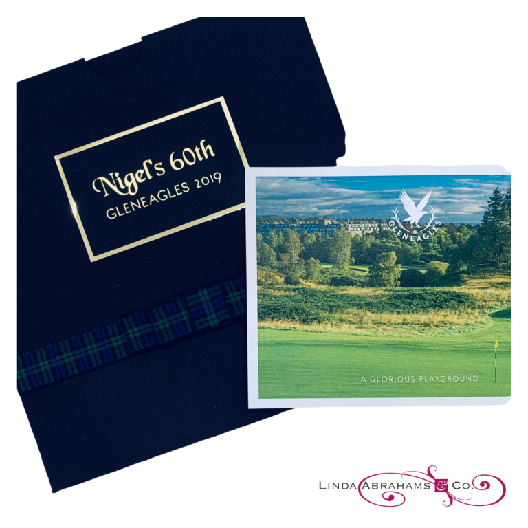bespoke 60th birthday invitation to glenagles golf