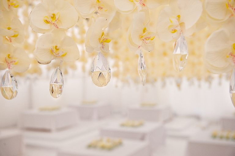 orchid and crystal hanging wedding decor