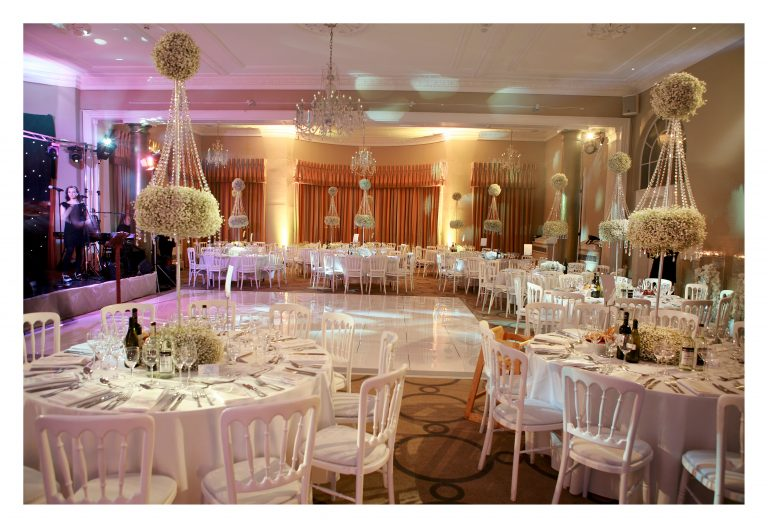Rudding Park Jewish wedding white gypsophelia and crystal table arrangements