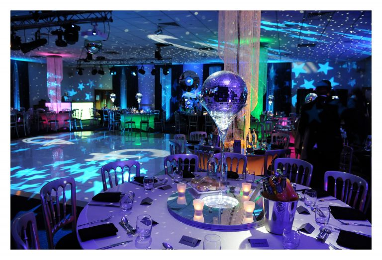 Mirror ball and chandelier barmitzvah decor