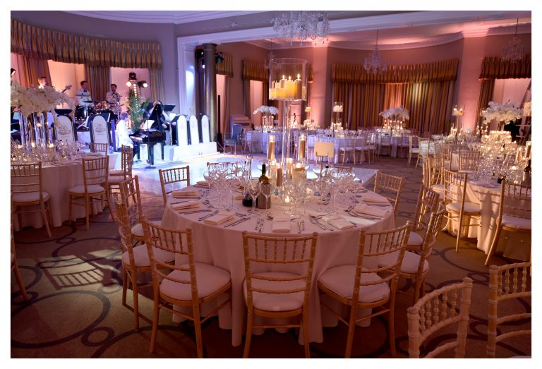 rudding park wedding dinner with candles and orchids