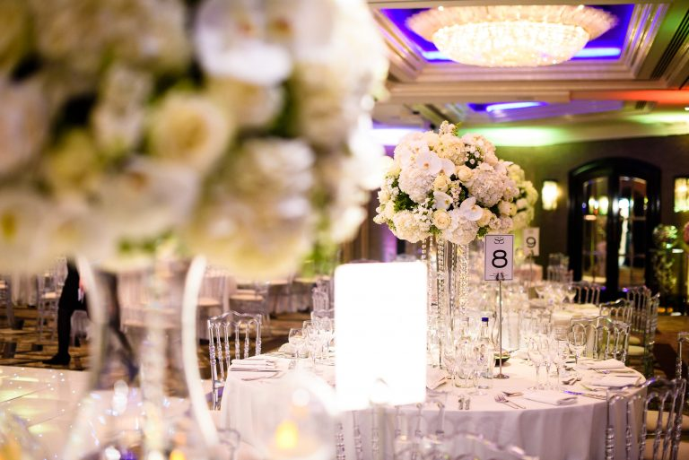 jumeirah carlton tower wedding with white floral displays orchids hydrangea roses and crystals