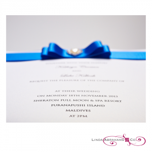 Luxury Wedding Invitation blue satin ribbon and crystal embellishment