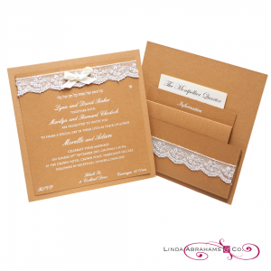 Rustic wedding invitation with white raised ink, lace and pearl embellishment