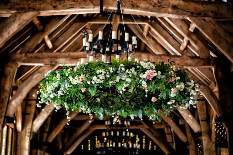 tithe barn bolton abbey wedding with hanging florals